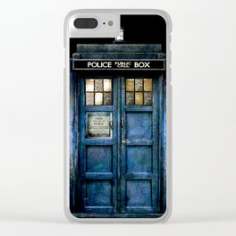 Beautiful tardis with yellow stained glass windows Clear iPhone Case