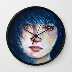 Blue hair Wall Clock