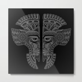 Gray and Black Aztec Twins Mask Illusion Metal Print