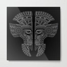 Gray and Black Aztec Twins Mask Illusion Metal Print