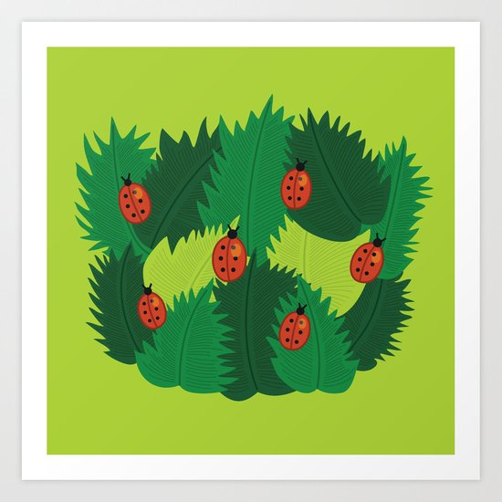 Green Leaves And Ladybugs In Spring Art Print