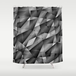 Exclusive monochrome pattern of chaotic black and white fragments of glass, metal and ice floes. Shower Curtain