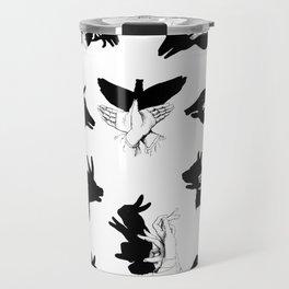 Black and White Shadow Puppet Chart Travel Mug