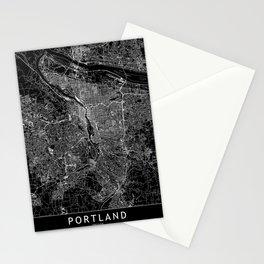 Portland Black Map Stationery Cards