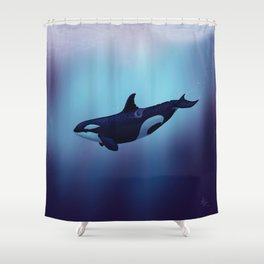 """Lost in Fantasy"" by Amber Marine ~ Orca / Killer Whale Art, (Copyright 2015) Shower Curtain"