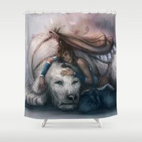 korra Shower Curtains featuring Korra and Naga by jasric