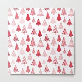 Red textured Christmas tree silhouettes on white Metal Print