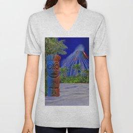 Tiki Art Background Unisex V-Neck