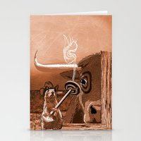 chicago bulls Stationery Cards featuring Bulls Eye by Laura Brightwood