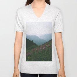 Mountains & Flowers Unisex V-Neck