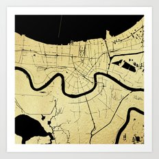 New Orleans Black and Gold Map Art Print
