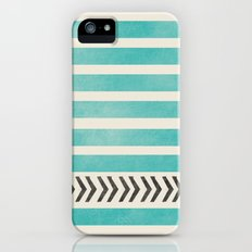 TEAL STRIPES AND ARROWS iPhone (5, 5s) Slim Case