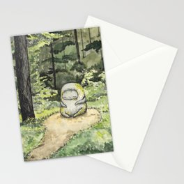 Statue in a Forest Watercolor Painting Stationery Cards