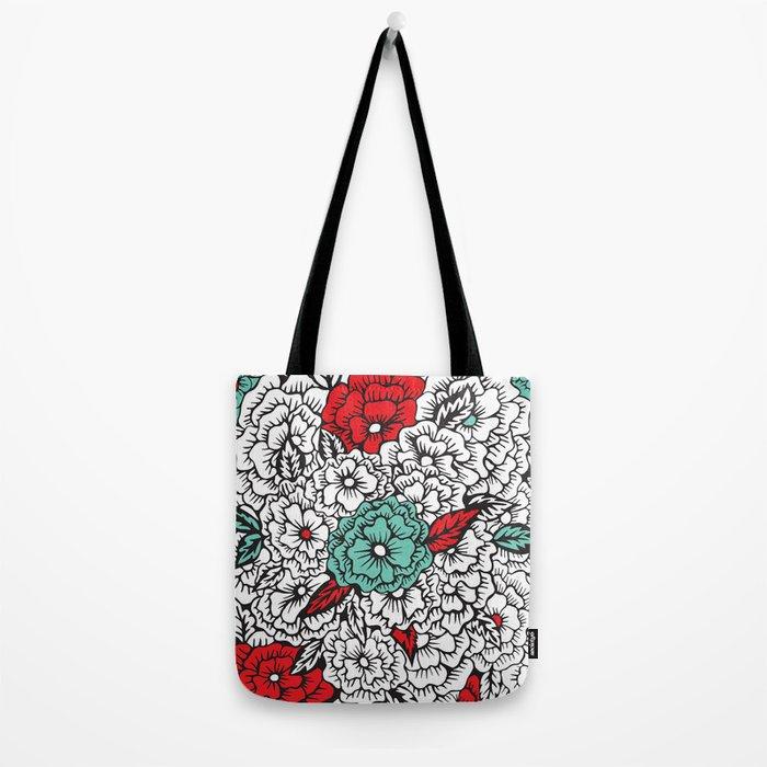 retro flowers Tote Bag