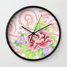 Pink Kimono Bouquet Wall Clock