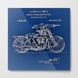 1914 - 1918 WWI Perry Motorcycle Machine Gun Patent Blueprint Metal Print