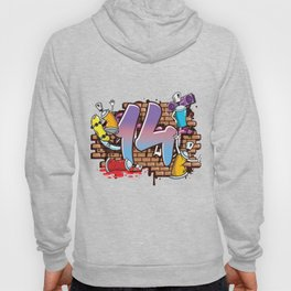 Hiphop Dancer Graffiti Artist Typography 14th Birthday Hip Hop Urban Wall Mural Street Art Hoody
