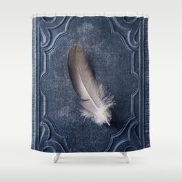 Still life with grey feather Shower Curtain