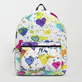 Colorful Heart Pattern Paint Splatters Backpack