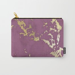Plum Gold Marble Carry-All Pouch