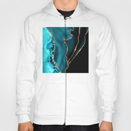 Teal Blue And Gold Glitter Sparkle Veins Agate Hoody