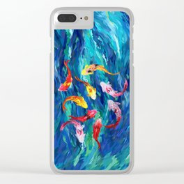 Koi fish rainbow abstract paintings Clear iPhone Case