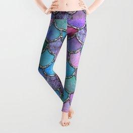 Colorful Silver Mermaid Scales Leggings