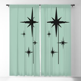 1950s Atomic Age Retro Starburst in Mint Green and Black 2 Blackout Curtain