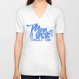 Mom LIFE Blue Unisex V-Neck