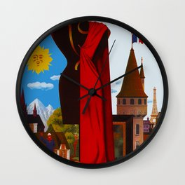 Vintage France Cityscape Travel Wall Clock