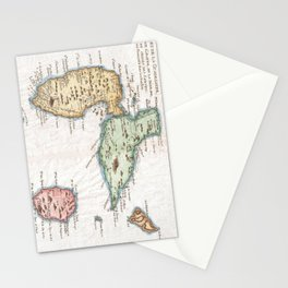 Vintage Map of Guadeloupe (1780) Stationery Cards