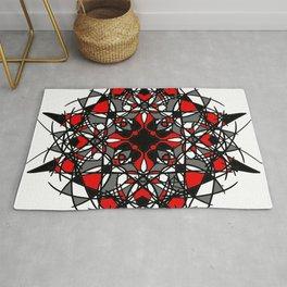 Red Black and White Tribal Mandala Rug