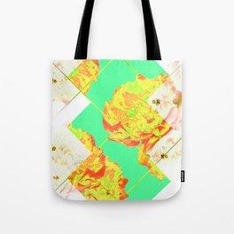 Abstract Geometric Pop Green Peonies Flowers Design Tote Bag