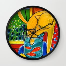 Henri Matisse - Cat With Red Fish still life painting Wall Clock