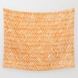 Sherbet Herringbone Lines Wall Tapestry