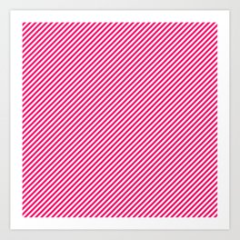 Mini Hot Neon Pink and White Candy Cane Stripes Art Print