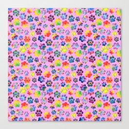 Pink and Rainbow Pawprint Pattern Canvas Print