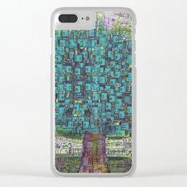Tree Town - Magical Retro Futuristic Landscape Clear iPhone Case