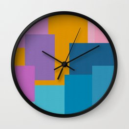 Happy Color Block Geometrics in Yellow, Blue, Purple, and Pink Wall Clock