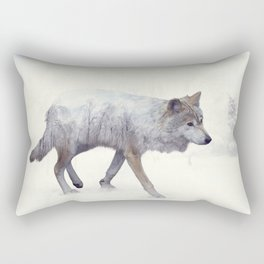 Double exposure of wolf in the winter woods Rectangular Pillow