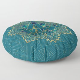Sri Yantra  / Sri Chakra Gold, Marble and Teal Floor Pillow