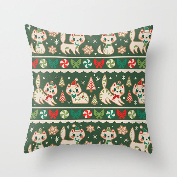 Striped Gingerbread Kitties (Green) Throw Pillow