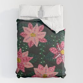 Colorful Pink Floral Bouquet Comforters