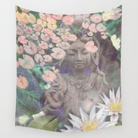 budi satria kwan Wall Tapestries featuring Reflections - Zen Garden Kwan Yin Goddess Art by Fusion Idol