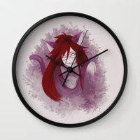black butler Wall Clocks featuring Kuroshitsuki / Black Butler - Grell Sutcliff by hinterdemlicht