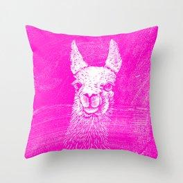 Funny Neon Pink Llama Animal Art Drawing Throw Pillow