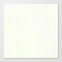 Pale Cucumber Pin Stripe on White Canvas Print