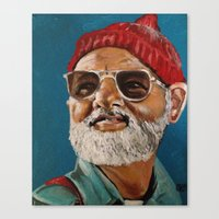 steve zissou Canvas Prints featuring Steve Zissou  by Kristin Frenzel