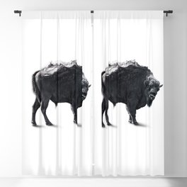 Bison Mountain Black and white art Blackout Curtain