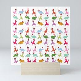 Colorful Dinosaurs Christmas Mood  Mini Art Print